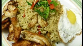 Thai food Stir fried green curry paste with grilled chicken