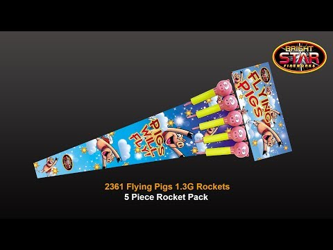 Bright Star Fireworks Flying Pig Rockets - Pack of 5