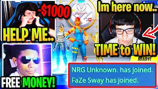 FaZe SWAY *SAVES* BUGHA from UNKNOWN after LOSING $1000! (Fortnite)