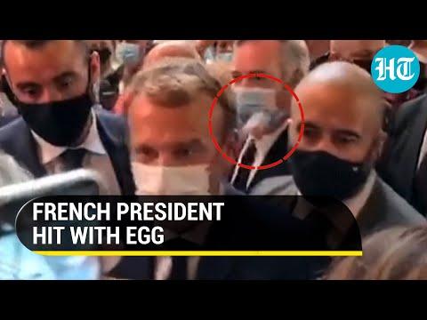 French President Emmanuel hit by egg during restaurant fair visit