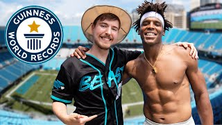 Breaking Dude Perfect's World Records with Mr Beast | Cam Newton Vlogs