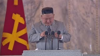 Kim Jong-un appears to cry in emotional military parade speech