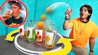 Spinning Hot Sauce Cup Pong Challenge! | REKT vs. Get Good Gaming