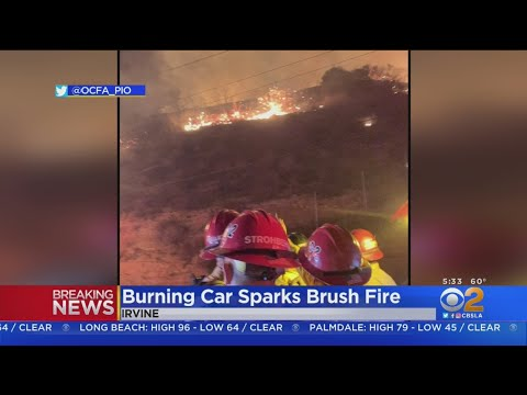 Car Crash Sparks Brush Fire Near 241 Freeway In Irvine