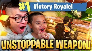 OMG THIS *NEW* WEAPON MIGHT GET ME BANNED ITS TOO OP! 9 YEAR OLD BROTHER! FORTNITE BATTLE ROYALE! 🔥