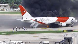 Evacuate Burning Plane | Fort Lauderdale-Hollywood International Airport
