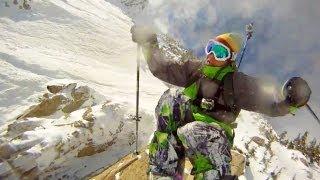 Amazing ski cliff jump