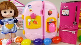 Baby Doll refrigerator and surprise eggs toys play