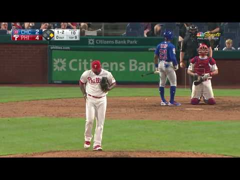 horrible strike 3 call in the 9th inning- Cubs Vs Phillies