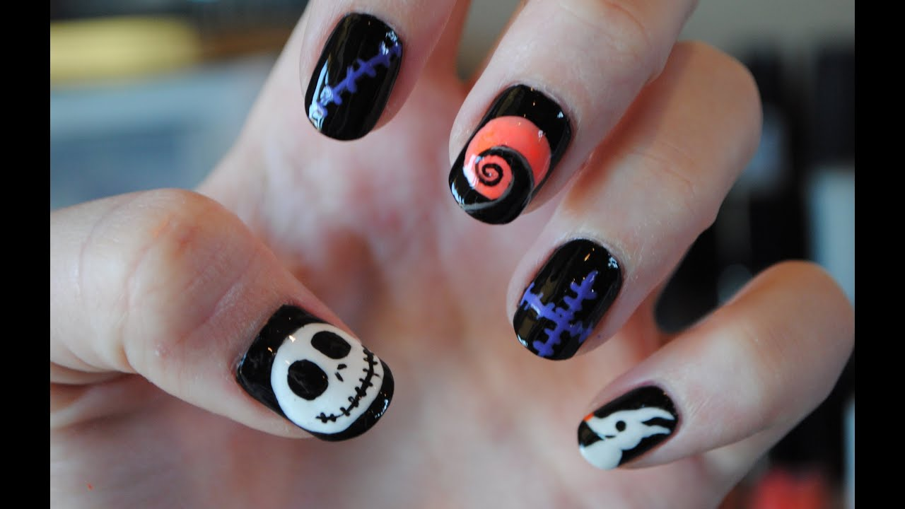Nightmare Before Christmas Nail Tutorial - YouTube