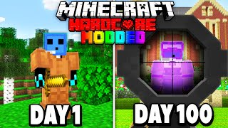 I was hunted for 100 Days in Hardcore Minecraft MODDED... (Minecraft Manhunt)