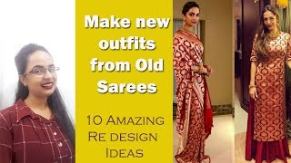 Sari Reuse Part-1|New outfits from old saris| Amazing 10 ideas | In Hindi| English subtitles