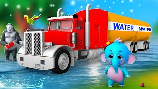 Funny Gorilla with Water Tanker Saves Zoo Animals in Jungle   3D Videos Funny Animal Comedy Videos