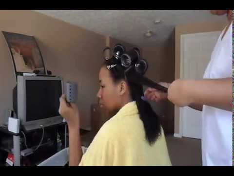 roller setting relaxed hair sv  brick layering