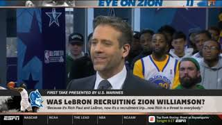 FIRST TAKE on ESPN   Was LeBron recruiting zion Williamson