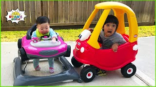 Ryan car racing with baby Emma and Kate Pretend Play!!