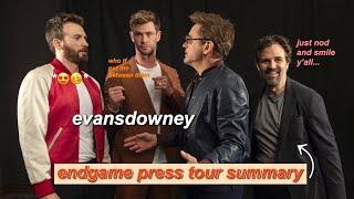 chris evans and robert downey jr: endgame press tour