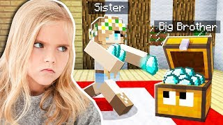 5 Ways to STEAL my LITTLE SISTER's DIAMONDS in Minecraft!