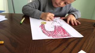 Ben drawing the grinch for Stephanie
