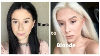 Bleaching my hair at home | BLACK to BLONDE  | Part 1