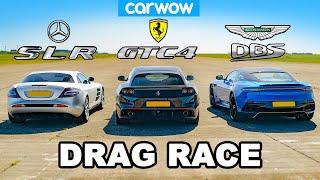 Mercedes SLR McLaren vs Ferrari GTC4 vs Aston DBS: DRAG RACE