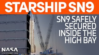 SpaceX Boca Chica - Starship SN9 leaves High Bay before being secured on new mount