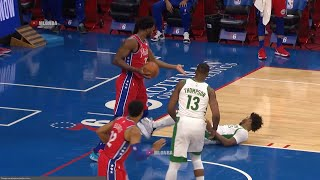 Marcus Smart flop like a fish against Joel Embiid