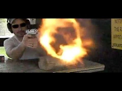 Coonan 357 Magnum 1911 Slow Motion Shooting Towards