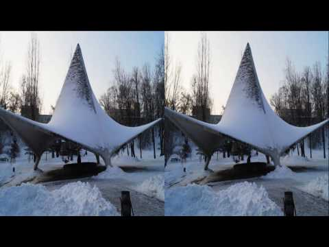 Winter City Park 3D ! The harmony of Ice and Snow ! 3D Photo