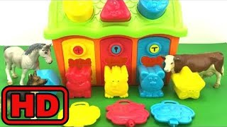 Kid -Kids -Learn Shapes with Color Doors/Learn Farm Animals- Colors and Shapes Videos Collection fo