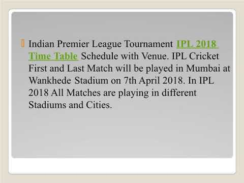 IPL 2018 Time Table Twenty20 Cricket Matches Schedule and Venue Details