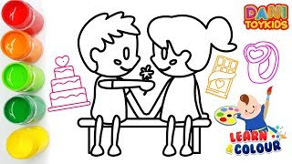 Drawing & Coloring pages Learn Colors for Kids & Toddlers | Cake, Chocolate & Ring