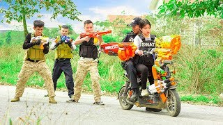 Nerf War: Warriors Girl Sniper & Special S.W.A.T Nerf Gunfight Mafia Group Protect Bastion