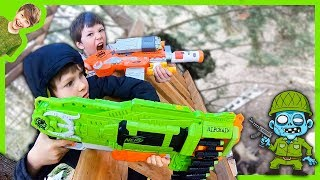 Zombie Nerf Blaster Tree Fort Attack!