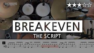031   Breakeven - The Script (★★★☆☆) Drum Cover Score book Sheet Lessons Tutorial   DRUMMATE