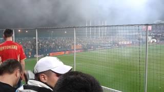 Черногория-Россия. Факел попадает в голкипера России