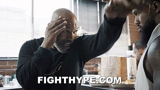 """MIKE TYSON TEACHES SIGNATURE MOVES TO """"THE BEAST""""; BADDEST MAN ON THE PLANET MENTORING JAMES WILSON"""