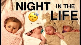 A NIGHT in the life with TRIPLETS and a toddler. Our night time routine.
