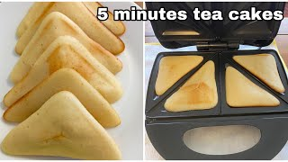 5 minutes tea cake in sandwich maker. How to make vanilla sponge cake without Oven