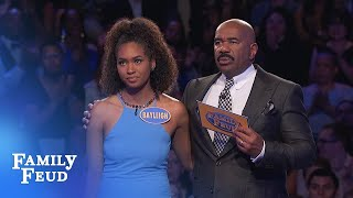 57 points for her LAST ANSWER! Is it enough for $20,000 | Family Feud