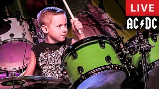 AC/DC - LIVE (7 year old Drummer) Dirty Deeds Done Dirt Cheap