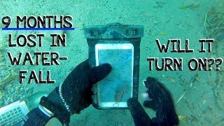 Underwater Metal Detecting a WATERFALL - I Found an iPhone, Rings, Pocket Knife (Phone Returned!!!)