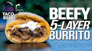 TACO BELL'S BEEFY 5 LAYER BURRITO....BUT HOMEMADE & WAY BETTER! |  SAM THE COOKING GUY 4K