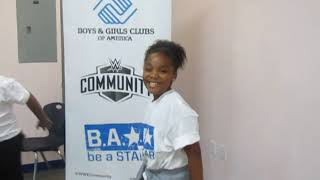 Big E, Mandy Rose with kids at WWE Be a STAR at Boys & Girls Club South Beach in Miami