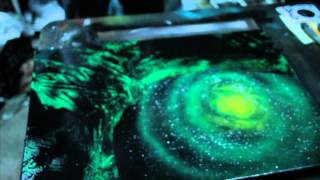 Green Galaxy - Spray paint demo by Markus Fussell