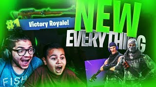 *NEW* HUNTER RIFLE IS OVERPOWERED! *NEW* SKINS! *NEW* TOWN! FORTNITE BATTLE ROYALE! 9 YEAR OLD KID!
