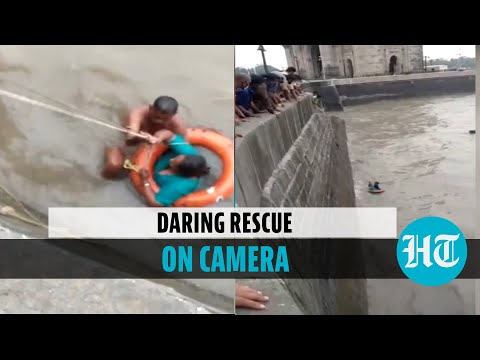 Watch: Woman falls into sea near Gateway of India, rescued by photographer