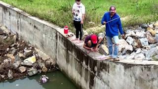 Câu cá rô phi trong đường xả nước đập Xoài Cheth, Núi Tô Tri Tôn, An Giang 30/07/2018