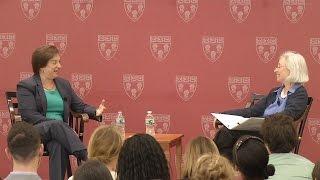 Associate Justice Elena Kagan speaks with Dean Martha Minow