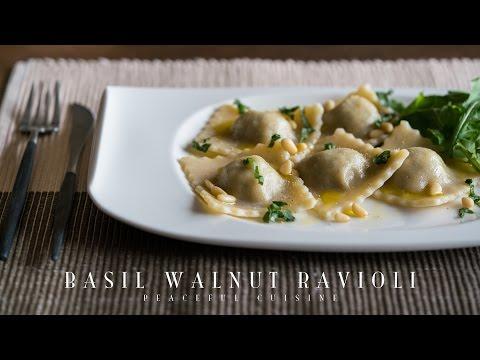 Basil Walnut Ravioli (vegan) ☆ バジルと胡桃のラビオリの作り方